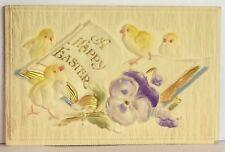 PostCard A Happy Easter Chicks Floral Raised Design Posted 4/1912 Vintage