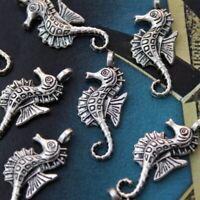 hot 10*PCS Seahorse Charms Seahorse Pendants Antiqued Tibetan Silver Tone12x25mm