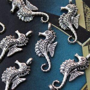 100PCS Seahorse Charms Seahorse Pendants Antiqued Tibetan Silver Tone12x25mm
