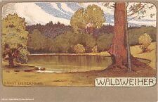 c.1905 Waldweiher Germany post card artist sgd. Ernst Liebermann Art Nouveau