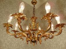 antik alter 8 fl Kronleuchter Bronze Goldbronze Engel Barock Frankreich ca. 1930