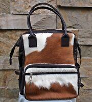 Brown n white cowhide leather backpack for men and women. custom handmade bag