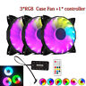 3 X RGB Game LED RGB 16.8 Million Color LED Ring PC 12cm Case Fan + Controller