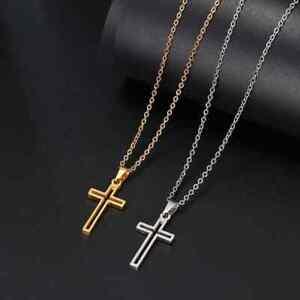 Edelstahl Kreuz Kruzifix Anhänger Halskette Gold Schmuck Damen Herren Kette