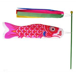 Japanese Windsock Koinobori Koi Nobori NYLON Red Carp Streamers Kit Flag Set