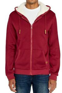 Buffalo David Bitton Mens Hoodie Red Size Small S Full Zip Sherpa-Lined $99 169