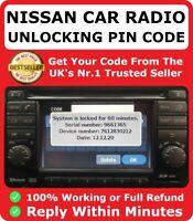 Nissan Radio Code Car Codes Micra Note Qashqai Almera Juke Connect Unlock FAST