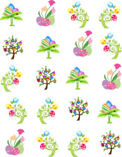 Easter Egg Tree Waterslide Nail Decals/Nail art