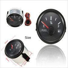 Black Bezel Gas Fuel Level Gauge Analogue Red LED Car Marine Boat 52mm 12V-24V