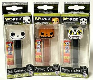Pop! Limited Edition The Nightmare Before Christmas Pez Dispenser Lot Of 3