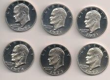 1971-74-S Ike dollar 40% silver/1 clad group 6 mint state proof coins TMM*