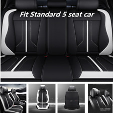 Deluxe Black & White Leather 6D Surround Car Seat Cover Cushion For 5 Seat Car