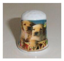 Ditale in ceramica, animali cani due cuccioli labrador, ditali di porcellana