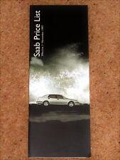 1997 SAAB RANGE Price List - 900 9000 9-5 Coupe Conv Talladega Anniversary Turbo