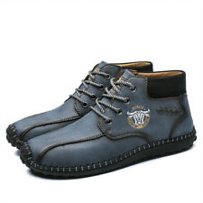 Men's PU Leather High-top Casual Shoes Breathable Soft Flats Handmade Sneakers