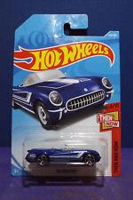 2018 Hot Wheels '55 CORVETTE in BLUE, HW THEN & NOW Series 3/10. Long card.