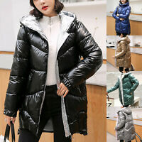 Women Quilted Padded Bubble Hooded Coat Lady Thick Warm Puffer Jacket Outwear CE