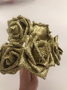 5x Gold Shimmer Rose Flowers Wedding Party DIY Garland Crown Decorations Craft