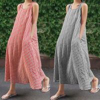 Women's Sleeveless Long Maxi Dress Round Neck Summer Beach Dresses Loose Fit