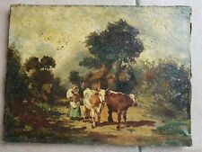 Ecole Française peinture  XIXèmeScène de ferme HST signe à identifier