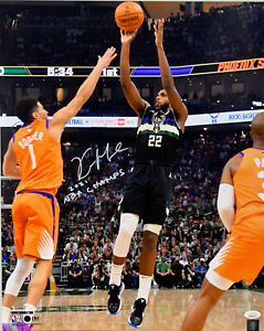 Milw Bucks  KHRIS MIDDLETON Signed 16x20 Photo #4 w/ 2021 NBA Champ AUTO JSA