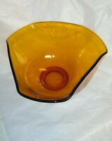 Vintage Indiana Glass Amber Salad Chip Bowl Tri Fold