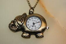 /Pocket Watch & Necklace Chain Vintage Bronze Elephant Quartz Pendant Watch