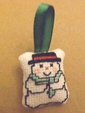 décoration à accrocher bonhomme de neige brodé