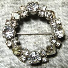 VINTAGE ART DECO SILVER TONE CLEAR CRYSTAL PIN BROOCH