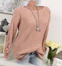 Vintage Damen-Pullover & -Strickware mit Rundhals-Ausschnitt aus Wolle