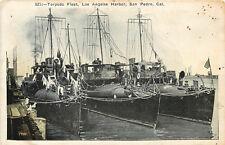 Vintage Postcard Torpedo Fleet Los Angeles Harbor San Pedro CA