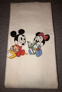 VTG DISNEY BABY BLANKET Mickey DUNDEE Crib Flannel Satin Trim BEST OFFER!