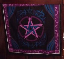 "AzureGreen Purple Blue Black Pentagram Altar Cloth 36x36""  WICCAN PAGAN"