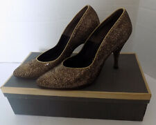 Vintage 50s Gold Mesh High Heel Shoes Pointy Toes D'Antonio New York 5B