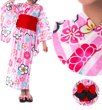 Japanese Girl's Traditional YUKATA KIMONO Obi Sandal Set JAPAN 03 Plum Pink