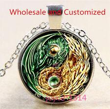 Yin Yang dragon and Phoenix Cabochon silver Glass Chain Pendant Necklace #3461