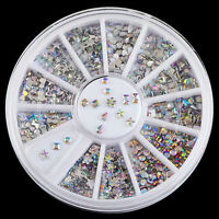 Mix 6 HOT DIY Wheel Nail Art Rhinestones Glitter Diamond Gems 3D Tips Decoration