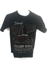 Johnny's Hot Rods Custom Built Men's Graphic T-Shirt Black Cotton Size Medium