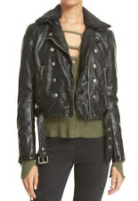 People Ashville Moto Military Faux Leather Black Removable Collar Jacket M