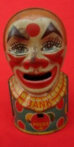 J. CHEIN & CO. MECHANICAL CLOWN BANK 1940'S  TIN LITHOGRAPHED