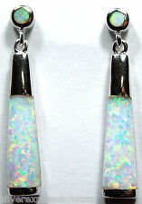 Long White Fire Opal Inlay Solid 925 Sterling Silver Dangling Post Earrings