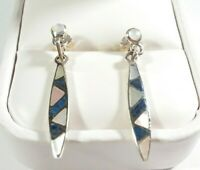"925 STERLING SILVER SLENDER MOTHER OF PEARL & LAPIS 1 7/16"" POST EARRINGS"