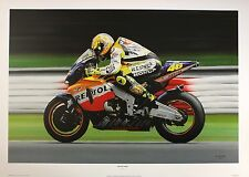 DERRICK MARK Valentino Rossi at Speed HONDA motoGP NEW! SIZE:51cm x 76cm  RARE
