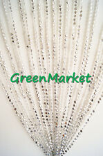 3 ft x 6 ft Iridescent Silver Plastic Crystal Beaded Curtain for Room Decoration