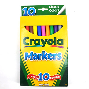Retro 2000 CRAYOLA 10 Classic Colors Markers Binney & Smith Made in USA NOS