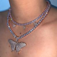 Mode Rhinstone Silber Kristall Clavicle Choker Schmetterling Anhänger Halskette