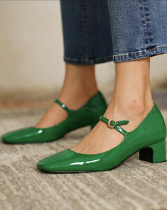 Square Toe Heeled Mary Janes New Never Worn Small Size 39 (more like a 38) Green