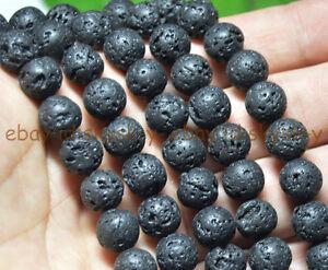 "6mm Black Natural Volcanic rock Round Gems Loose Beads 15"" Strands"