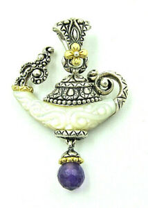 Bixby 925 & 18K Yellow Gold Genie Lamp Carved Mother of Pearl & Amethyst Pendant