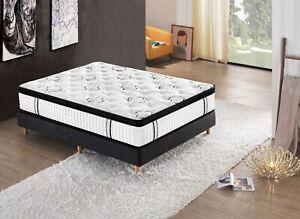 King Size Luxury Natural Latex Mattress 7 Zone Euro Top Pocket Spring 34cm